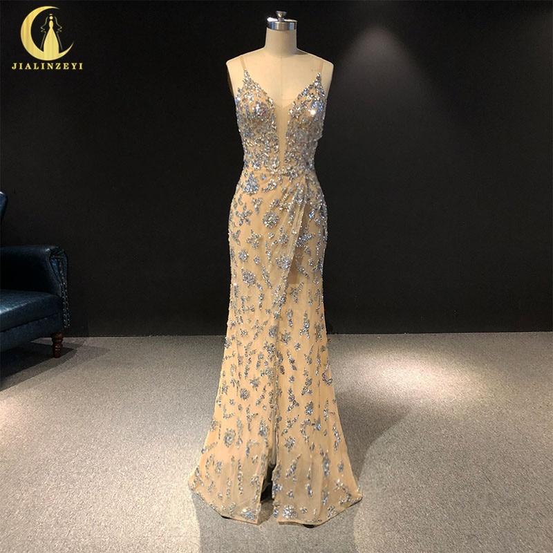 Rhine real Pictures Sexy Spaghetti stap Sliver vestido de noiva robe de soiree arabic   evening     dresses   long