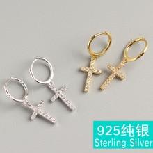 Cross ear clip S925 sterling silver set spiral mix folding wear earrings