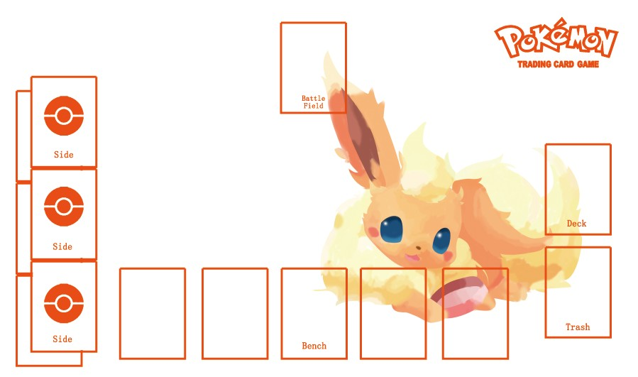 Takara Tomy PTCG Accessories Pokemon Card Game Table Playmat Eevee Flareon Toys For Children