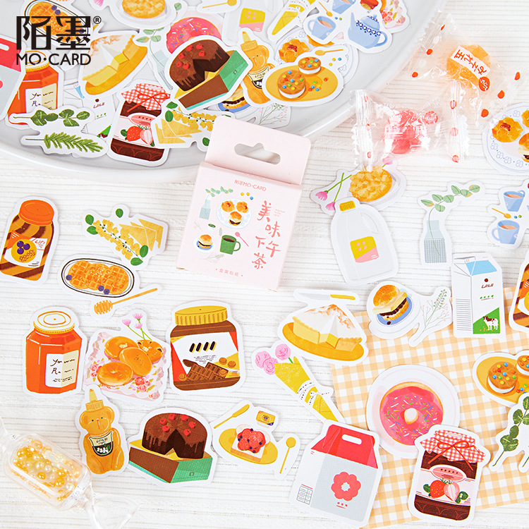 46pcs/pack Cartoon Sticker Set Sweet Food Dessert Notes Journal Stationery Scrapbooking Diy Diary Album Stick Label For Student