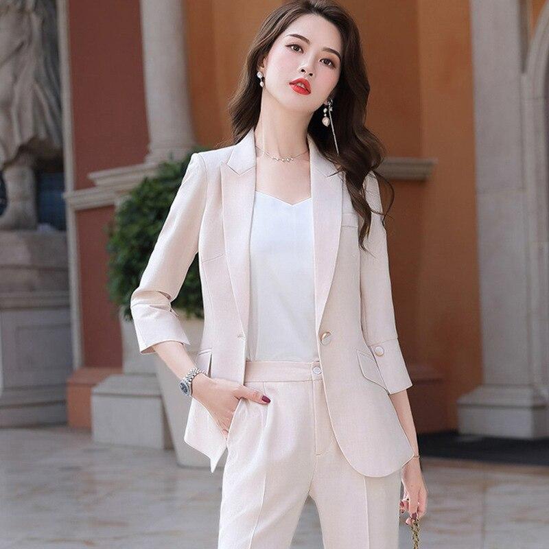 Костюм 2020 черный абрикос женский элегантный женский комплект пиджак и брюки брючный деловой одежды женщины топы и блузки
