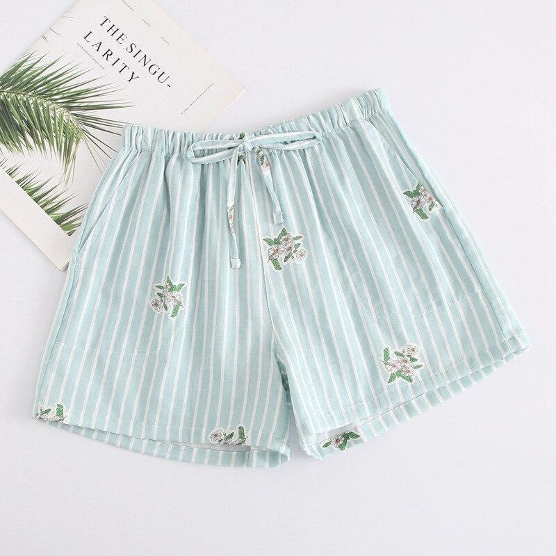 Летние женские Пижамные шорты, хлопковые газовые пижамы, штаны с принтом, штаны для сна, одежда для сна, женская одежда для сна - Цвет: Green stripes