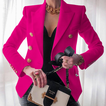 Women's New Solid Color Fashion Sexy Multi Buttons 2020 Summer And Autumn Casual Suit Office Wear Elegant Short Coat FC996 12