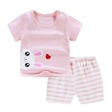 2 sztuk/zestaw Baby Girl Boy ubrania zestaw Cartoon wydrukowano bawełna dzieci maluch strój T-Shirt spodenki letnie ubrania dla dzieci z krótkim rękawem