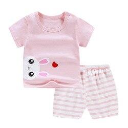 2 Pcs/Set Baby Girl Boy Clothes Set Cartoon Printed Cotton Kids Toddler Outfit T-Shirt Shorts Summer Short Sleeve Baby Clothing