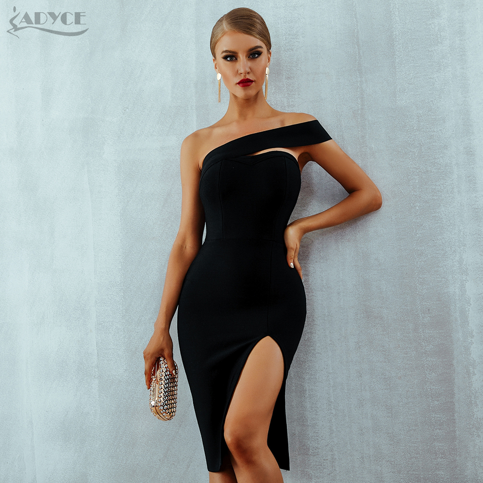 Adyce White Bodycon Bandage Dress Women Vestidos 2020 Summer Sexy Elegant Black One Shoulder Midi Celebrity Runway Party Dresses