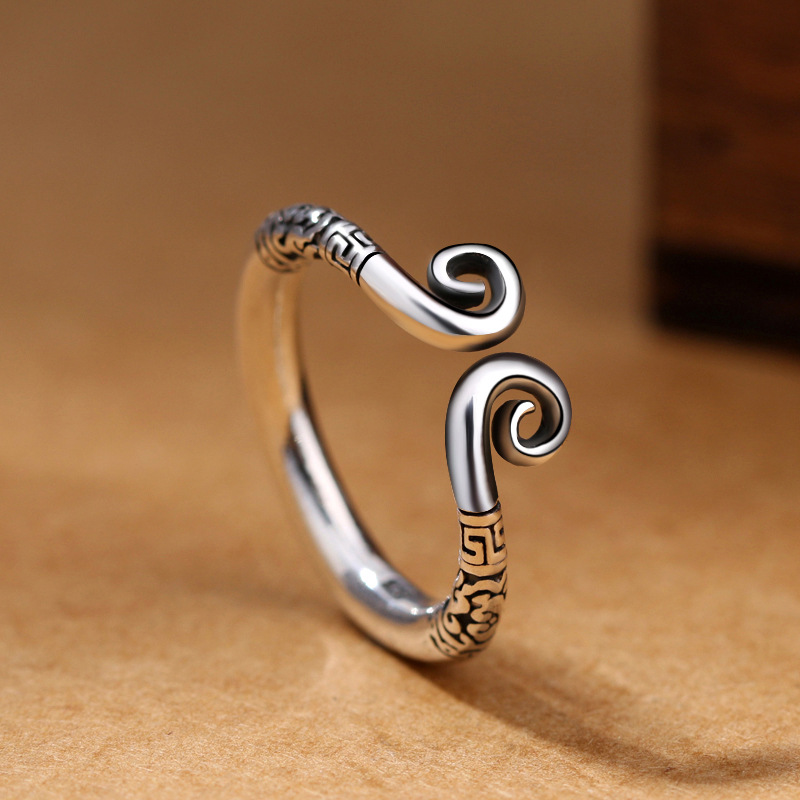 925 Sterling Silver Women Retro Ring Love You Ten Thousand Years Couple Ring Thai Silver Handmade Party Accessories