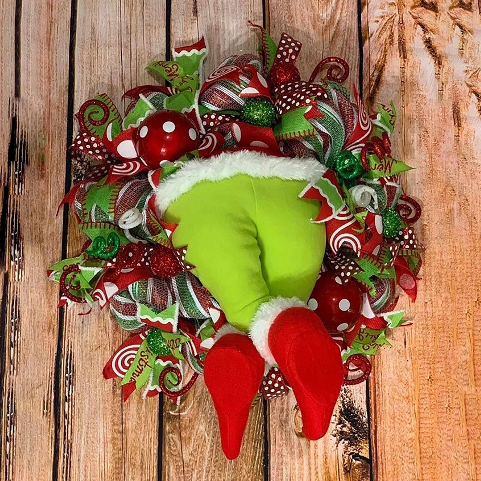 Christmas Wreath Thief Burlap Stealer Grinch Legs Holiday Garland Front Door