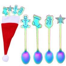 Комплект кофейных ложек из нержавеющей стали, 4 шт., Рождественская красочная ложка, ложки с мультяшными ручками, столовые приборы, инструменты для мороженого, питья#20