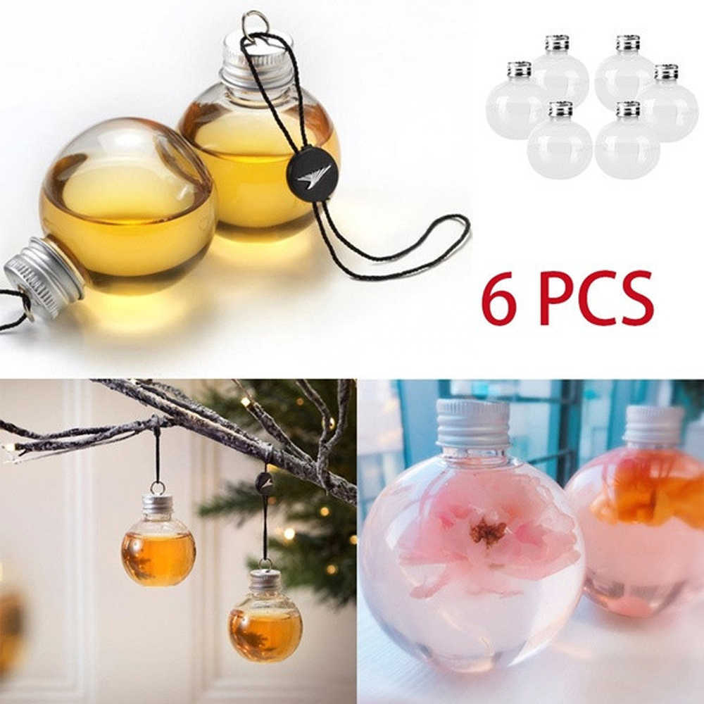 6pcs Creative Bulb ball Water Bottle Booze Filled Christmas Tree Ornaments Water Bottle Milk Juice Bulbs Cup Xmas Decor Living