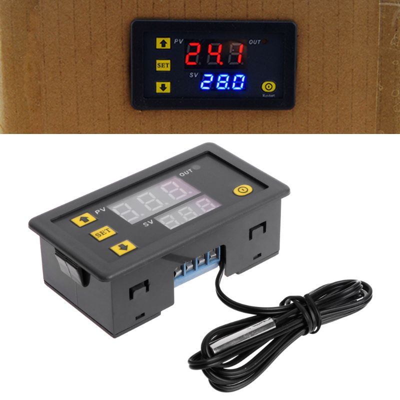 <font><b>220V</b></font> <font><b>20A</b></font> Temperature Controller Relay Dual Digital LED Display Heating/Cooling Regulator Thermostat Switch image