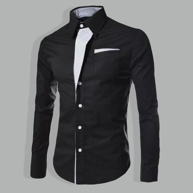 Men's Personality Men Business Casual Slim Long-sleeved Shirt
