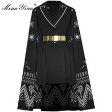 Dress Spring Vintage Embroidery Black Fashion-Designer Summer Moaayina Cloak Lace-Up