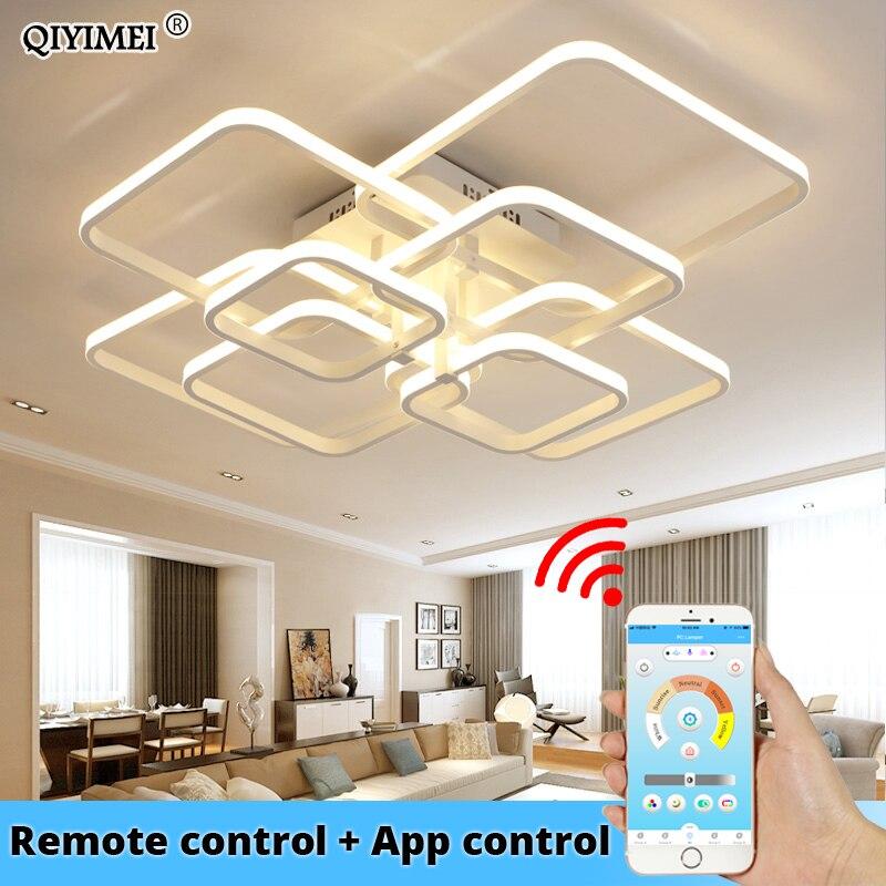 โมเดิร์นโคมไฟระย้า LED พร้อมรีโมทคอนโทรลอะคริลิคสำหรับห้องนั่งเล่นห้องนอนโคมระย้าโคมไฟเพด...