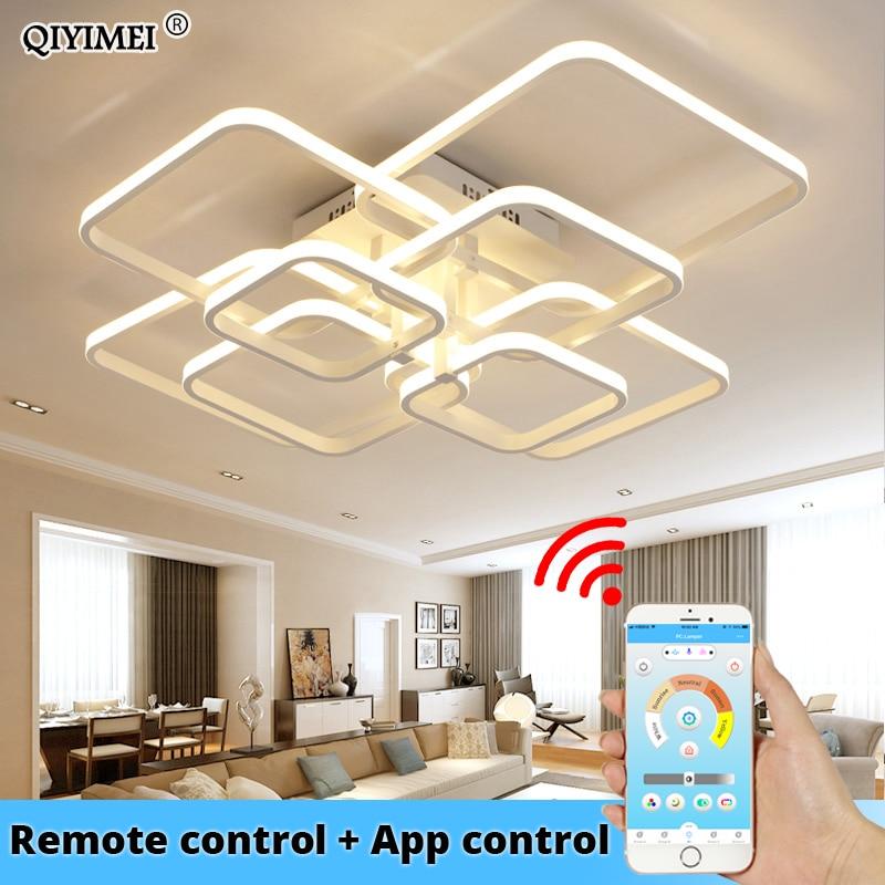 現代の led リモコンでアクリルリビングルーム寝室ホームシャンデリア天井器具送料無料