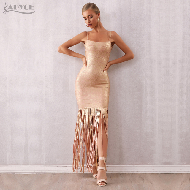 Adyce 2019 New Summer Maxi Tassels Women Bandage Dress Vestidos Sexy Sleeveless Fringe Club Dress Celebrity Evening Party Dress 3