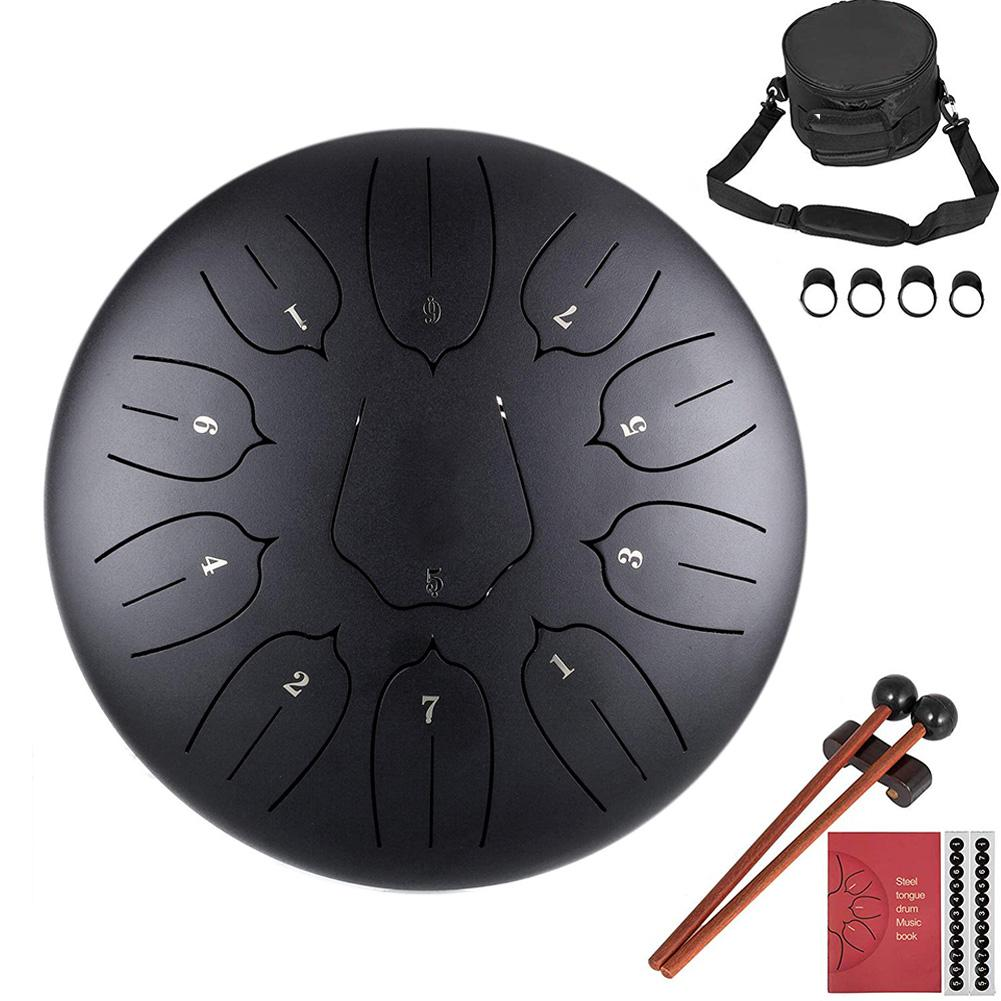 Steel Tongue Drum Percussion Instrument Lotus Hand Pan Drum With Bag 11 Notes 10 Inches Musicial Accessories