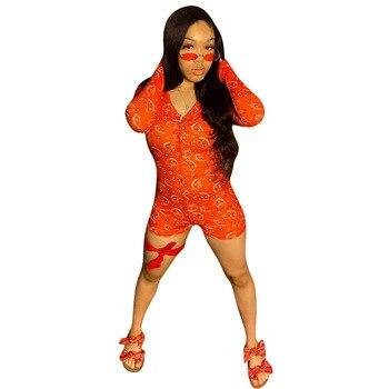 Paisley Bandana Print Slim Rompers Womens Jumpsuit Vintage Deep V-neck Long Sleeve Skinny Bodysuit Elastic One Piece Overalls chic stand collar long sleeve rompers womens jumpsuits loose waist elastic drawstring streetwear robe slim overalls bodysuit