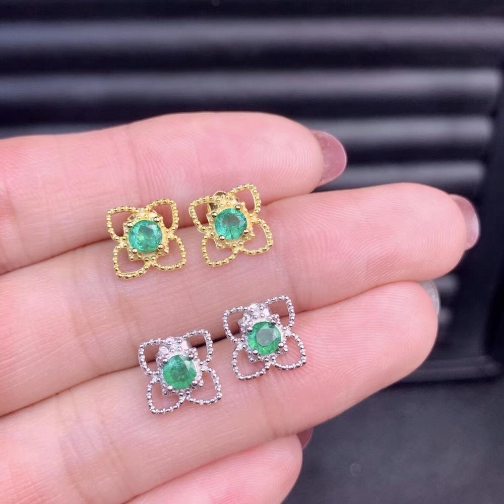 Boucles d'oreilles saphir vert naturel 925 boucles d'oreilles en argent pierres précieuses naturelles mignon étoiles trèfle femmes fille cadeau bijoux