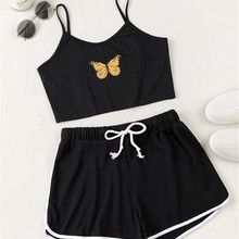 Shorts Suit Two-Piece-Set Women's Top Drawstring Printed Fashion Pullover Cami-Top Butterfly