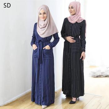 Striped A-line Abaya Dress with Pockets Muslim Dress Islamic Kaftan Robe Farasha Plus Size striped line doormat