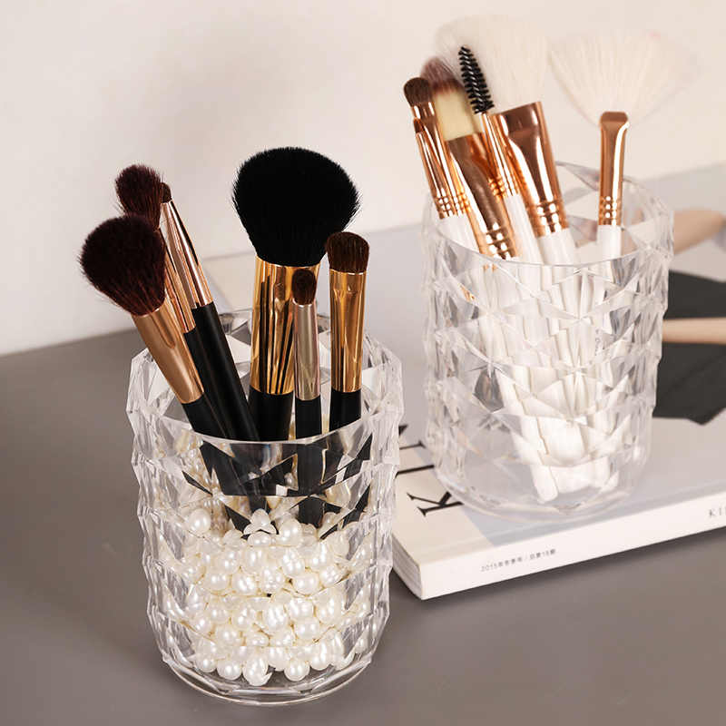 Diamant Muster Transparent Acryl Make-Up Pinsel Organizer Augenbraue Bleistift Lippenstift Rohr Finishing Lagerung Box Container