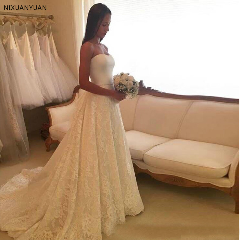 A-line Simple Wedding Dresses Strapless Bohemian Country Wedding Bridal Gowns Satin Top Tiered Lace Skirt Bow Belt Bridal Gowns