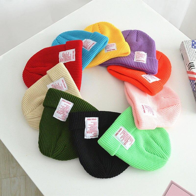 New Kids Solid Hip-Hop Beanies Knit Hat Baby Warm Autumn Winter Wool Cap Male Girl Solid Color Earmuffs Cap Skullies Hats Bonnet