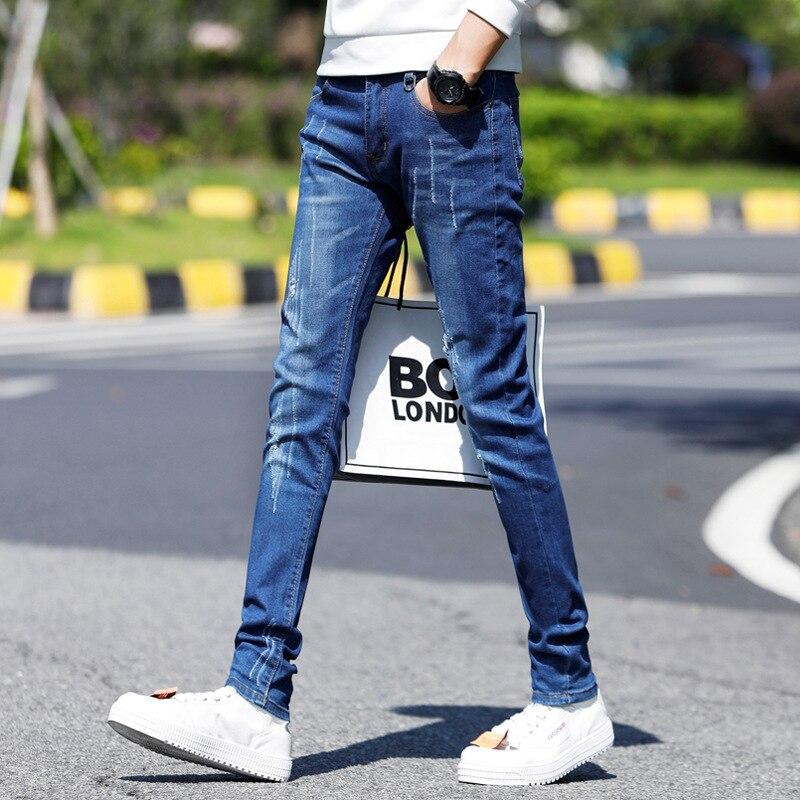 MEN'S Jeans Men's Popular Brand Slim Fit Pants Soil Summer Thin Section Junior High School Students Tight Korean-style Trend MEN