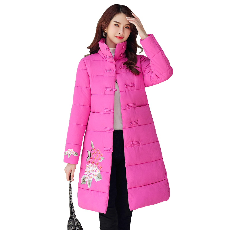 New 2019 winter coat women cotton-padded warm thicken stand collar embroidery Jacket women long outwear   parka   female Plus size