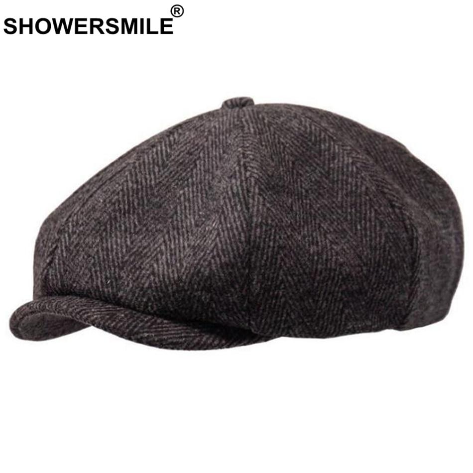 SHOWERSMILE Brand Wool Newsboy Caps Men Grey Herringbone Flat Caps Women Coffee British Gatsby Cap Autumn Winter Woolen Hats 5