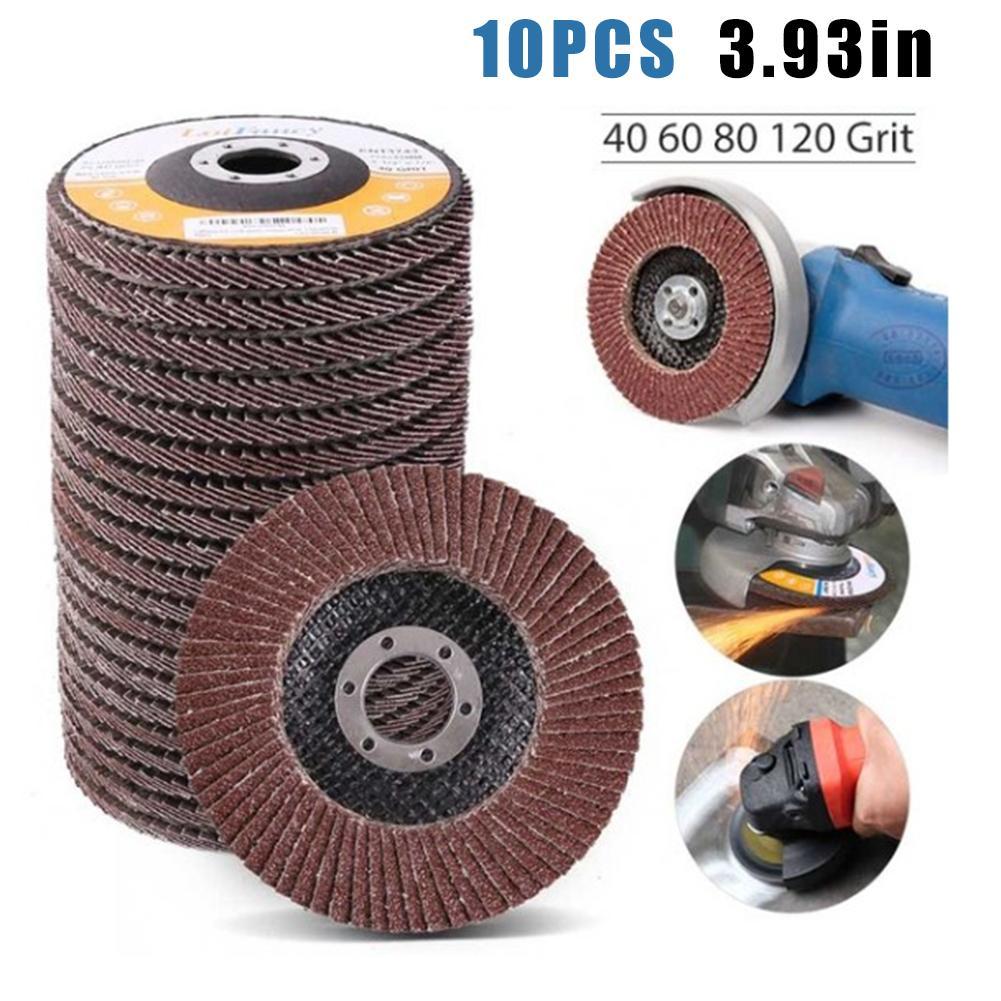 New 10Pcs/100mm Flap Sanding Discs 40/60/80/120 Grit Grinding Wheels Blades Angle Grinder