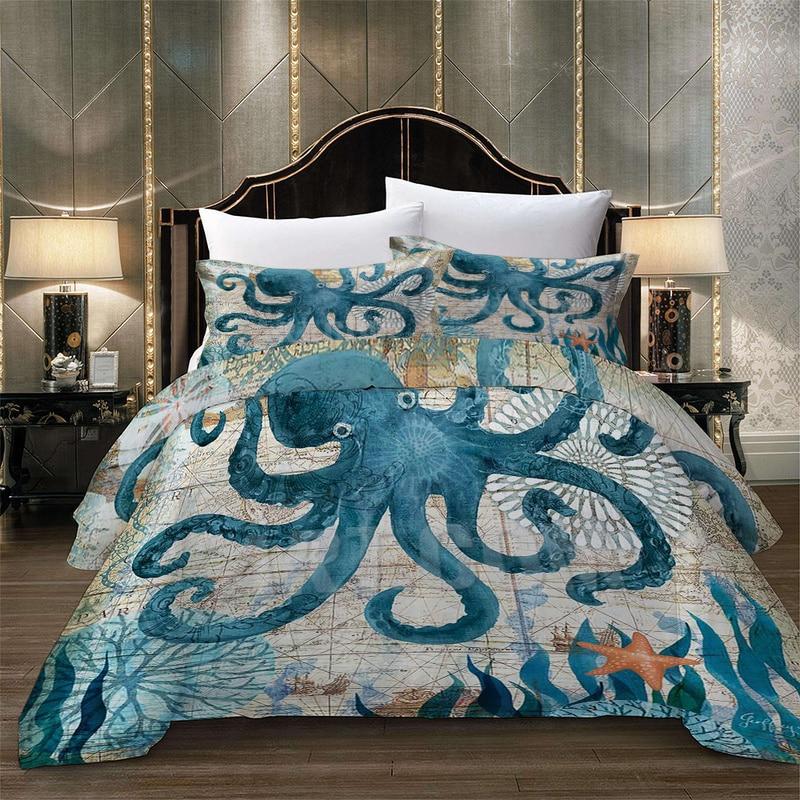 3D Digital OCTOPUS Home Textile   Sea Horse Dolphin Bedding Sets King Queen Whale Turtle Duvet Cover Quilt Cover Pillowcase
