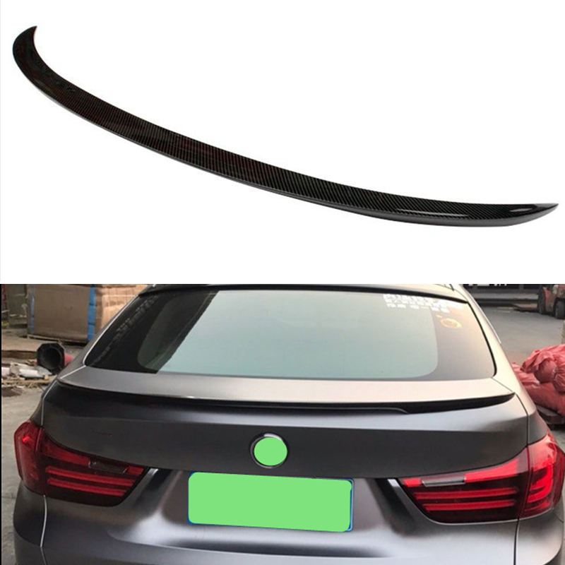 Use for BMW 5 Series GT F07 spoiler 2010--2017 year glossy real carbon fiber rear wing P style Sport Accessories body kit image
