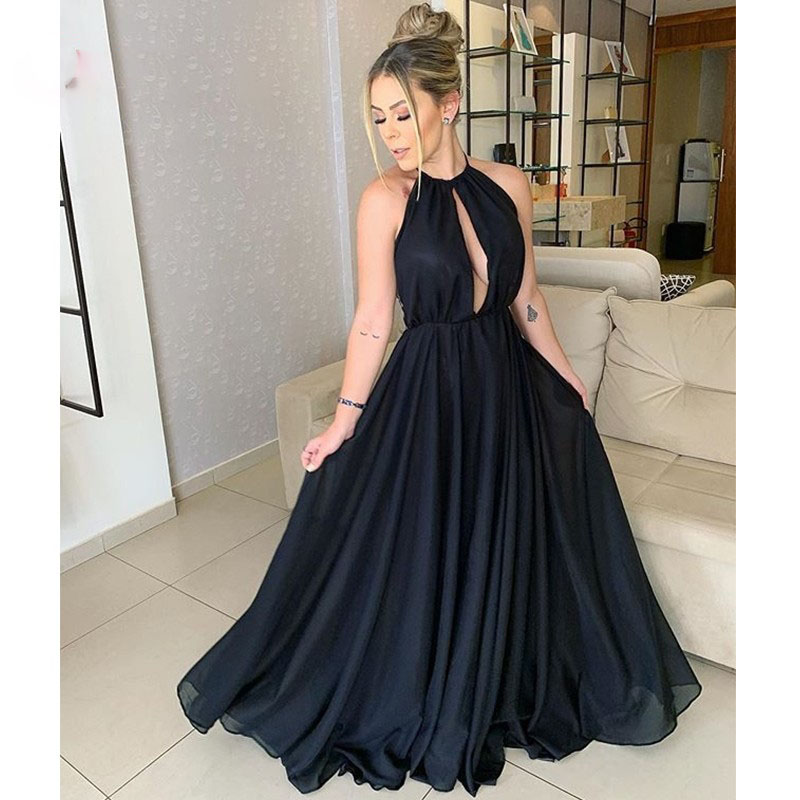 Black Prom Dresses Long Halter A-Line Keyhole Front Sexy Prom Party Gowns 2020 Newly Backless Graduation Wear