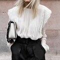 Celmia Frauen Rüschen Transparent Weiß Blusen Bestickte Spitze Shirt Herbst Elegante Langarm Plissee Casual Chiffon Tops 5XL