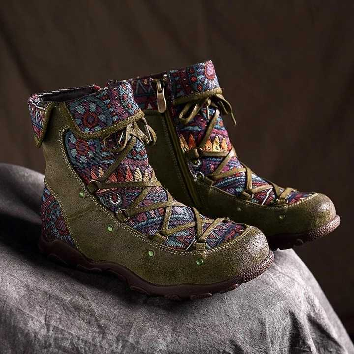 2019 neue Winter Frauen Stiefel Retro Freizeit Stickerei Nähte zip Stiefeletten kreuz-gebunden Bequeme Flache Schuhe frauen