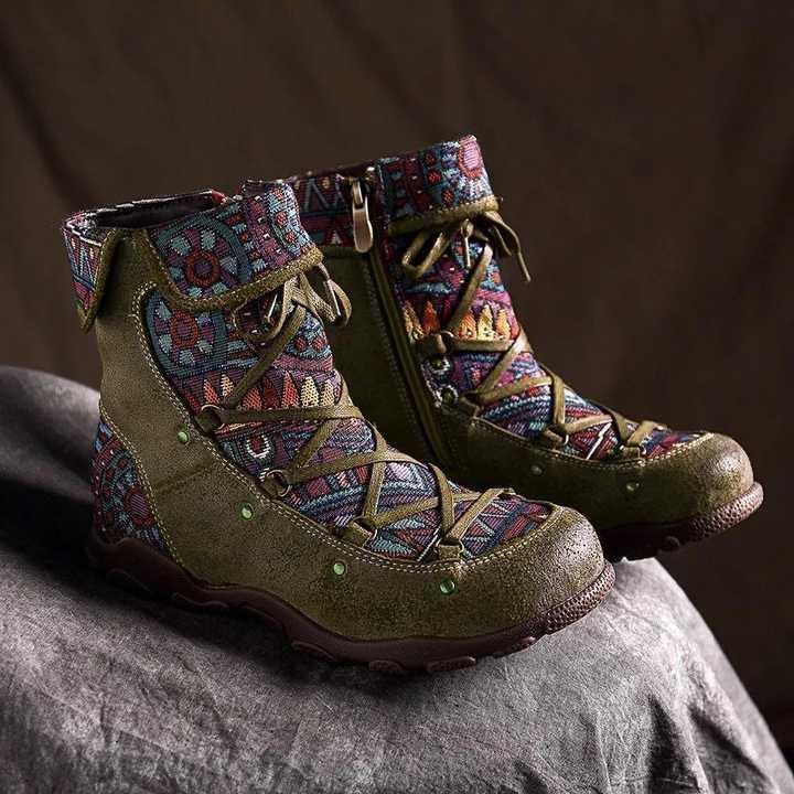 2019 yeni kış kadın çizmeler Retro eğlence nakış dikiş zip yarım çizmeler çapraz bağlı rahat düz ayakkabı kadın