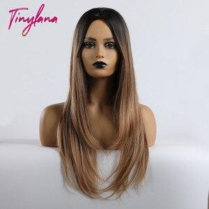 Image 2 - זעיר לנה ארוך ישר התיכון חלק תוספות סגנון פאות חום מעורב בלונד Ombre שיער לנשים קוספליי חום עמיד