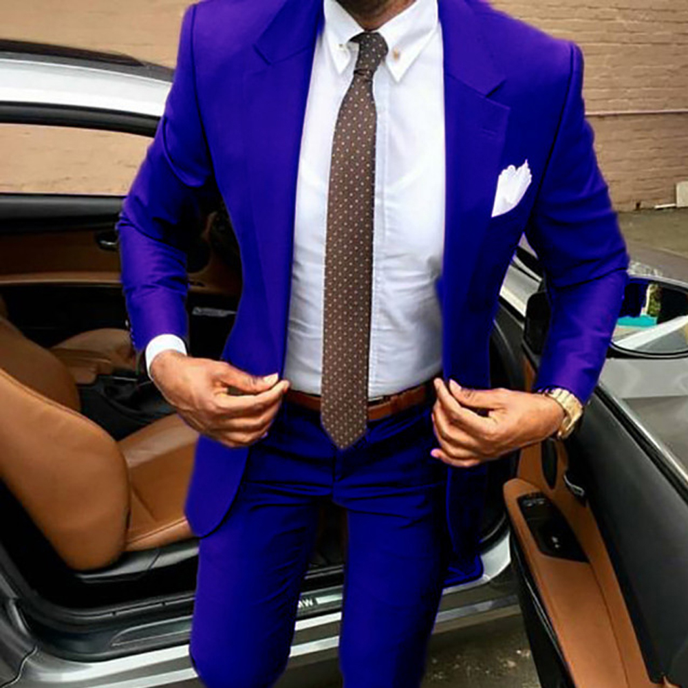 Royal Blue Suit Men Bridegroom 2020 Jackets And Pants Slim Fit Elegant Tuxedos Wedding Groomsman Business Party Formal Suits