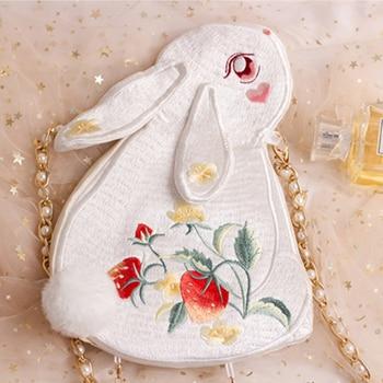 Angelatracy 2020 New Arrival Luxury White Fresh Rabbit Embroidery Vintage Tassel Pearl Stawberry Bag Bags Fur Ball Crossbody