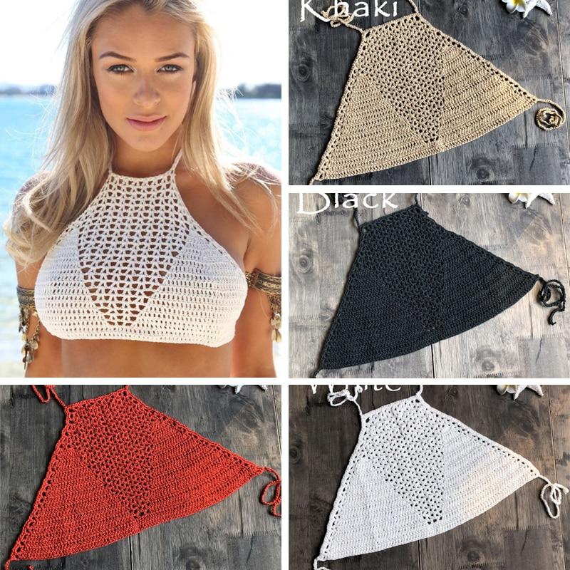 Handmade Crochet Bikini Top Bra Women Sexy Swimwear Tops Halter Knitted Swimsuit Brazilian Bikinis 2019 Mujer Bathing Suit Hot