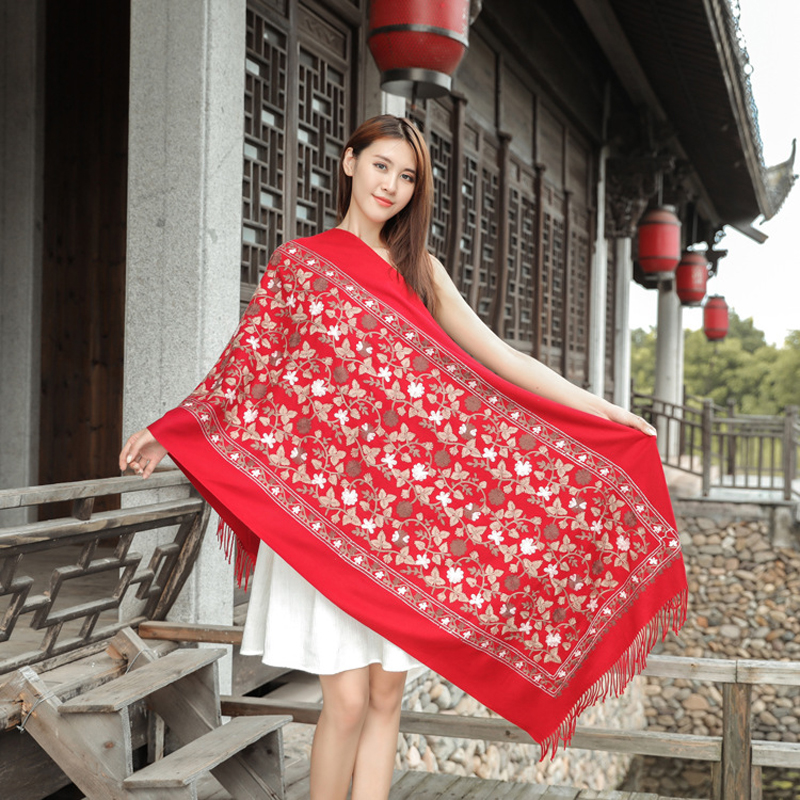 200*70cm Vintage New Women Floral Embroidery   Scarf     Wrap   Chinese Ethical Style Thickening Retro Edging   Scarf   Shawl Warm And Soft