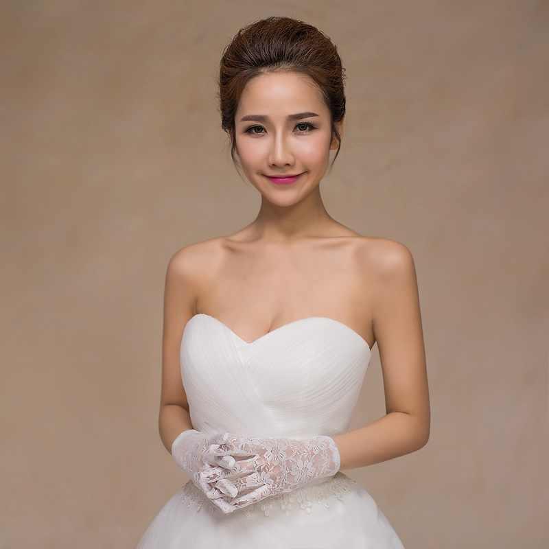 ブライダル手袋レースショート韓国スタイル結婚式オーガンジードレス薄型通気性駆動夏太陽保護白黒赤 S028