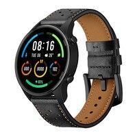 Correa de cuero para Xiaomi Mi Watch, accesorio de edición deportiva, Color marrón/negro