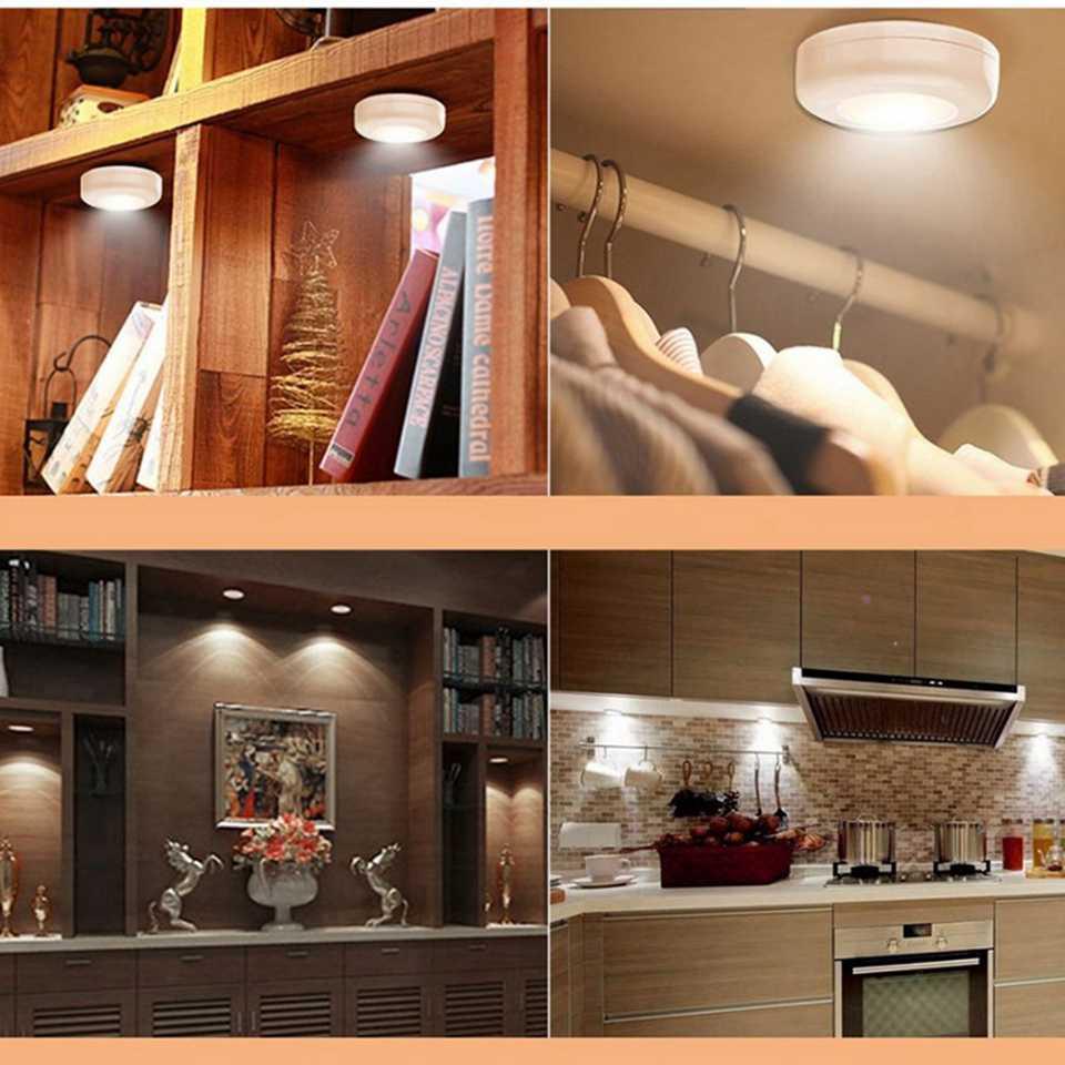 Touch Sensor Led Lamp Lamp Draadloze Dimbare Lamp Kasten licht LED Puck Lichten Voor Keuken Kast Trap Hal Verlichting