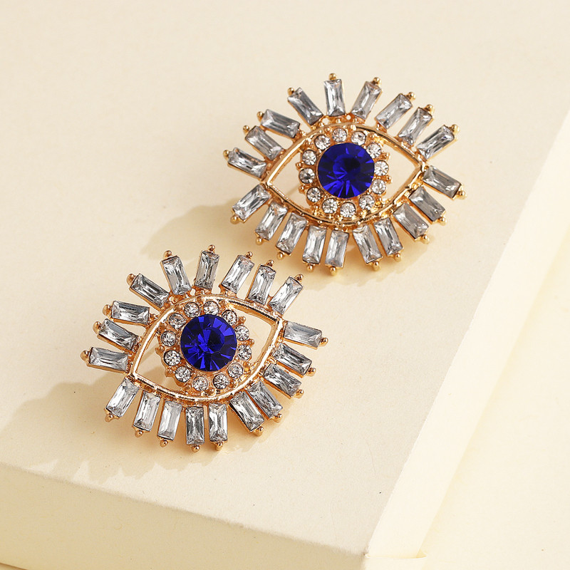 AOTEMAN Fashion CZ Rhinestone Eye Stud Earring For Women Trendy Cubic Zircon Alloy Maxi Luxury Blue Eye Bohemian Jewelry Gifts