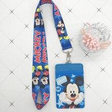 Disney Stitch PU портмоне держатель для карт брелок для ключей Ремешок для еды карта автобус Чехол для карт сумка для монет Микки Маус Сумка для документов
