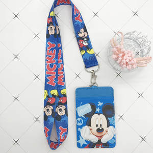 Disney Purse Card-Holder Lanyard Document-Card-Bag Keychain-Key Pu-Coin Mickey Mouse