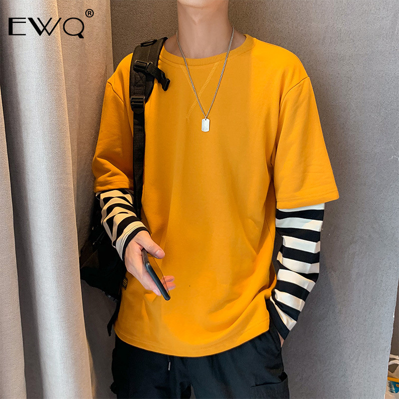 EWQ / 2020 Spring Long Sleeve men's T Shirt Trend Loose Fake Two Pieces patchwork tops Handsome Tide tee for male 19H-a202